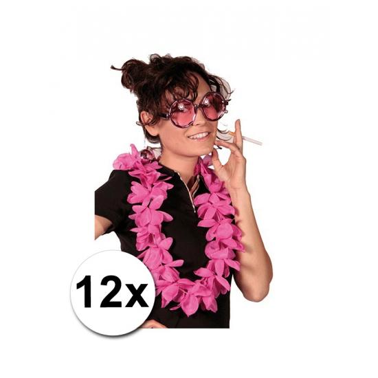 12 bloemenkransen roze