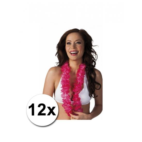 12 roze Hawaii kransen