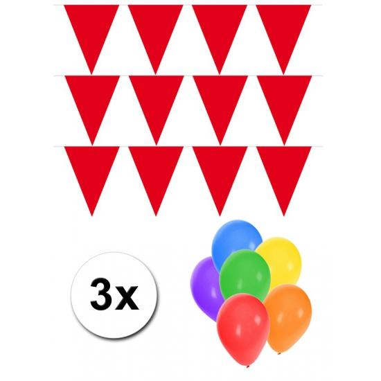 3 rode vlaggenlijnen groot incl ballonnen