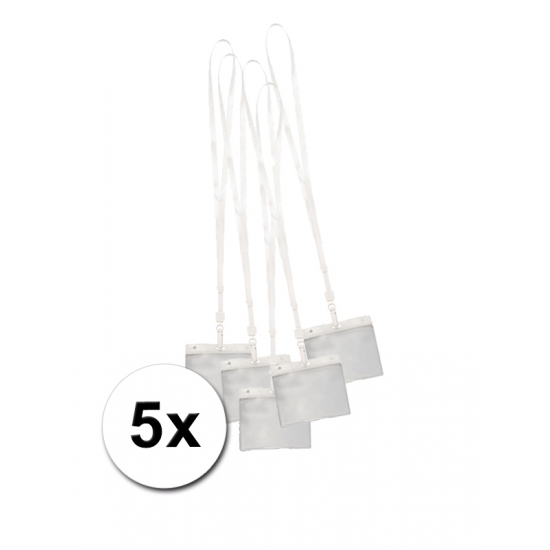 5 Lanyards incl. naamkaartjes houders wit 11,2 x 58 cm