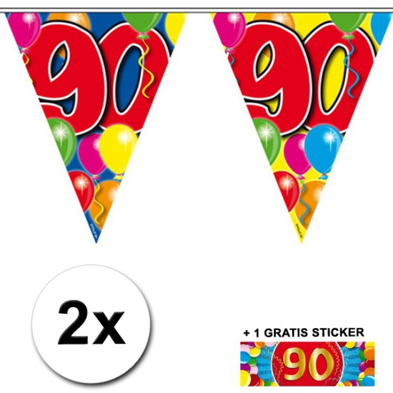 90 jaar vlaggenlijnen 2x met gratis sticker