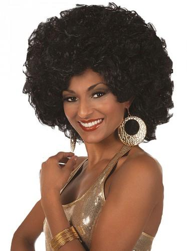 Afro pruik voor dames zwart (bron: Funenfeestwinkel)