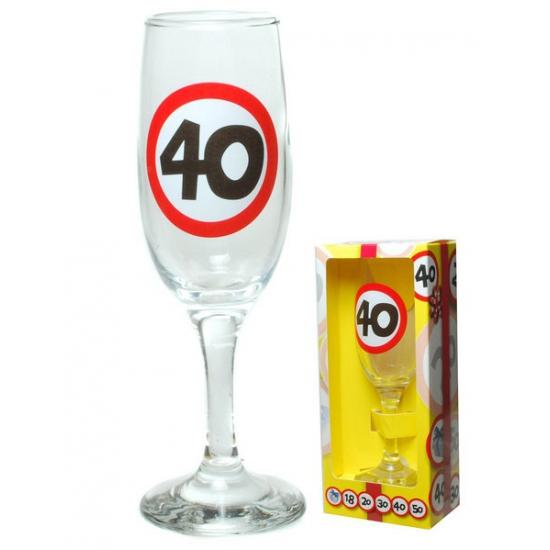 Champagne glas 40 jaar in gift box