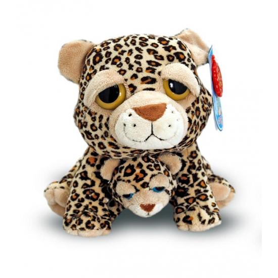 Cheetah met baby knuffel 25 cm