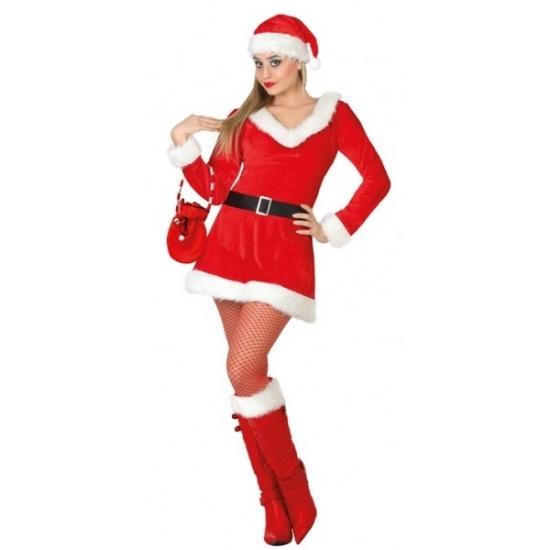 Dames kerstkleding jurkje met V-hals (bron: Funenfeestwinkel)