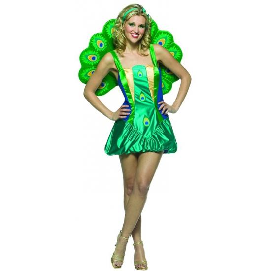 Dames kostuum pauw groen
