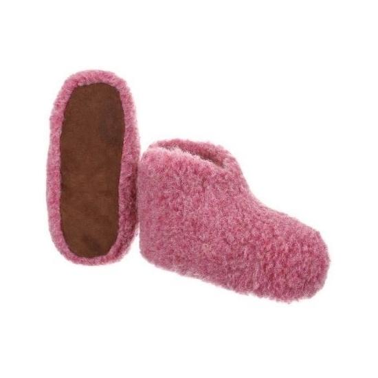 Dames slof roze 100% wol