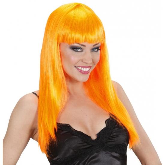 Damespruik oranje stijl haar (bron: Funenfeestwinkel)
