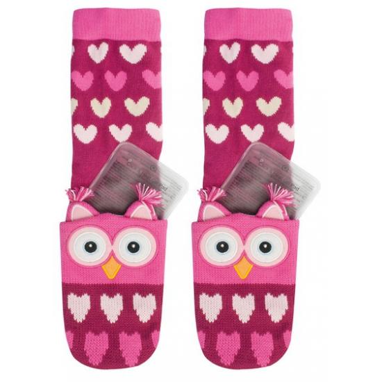 Gel sokken roze uil voor kinderen