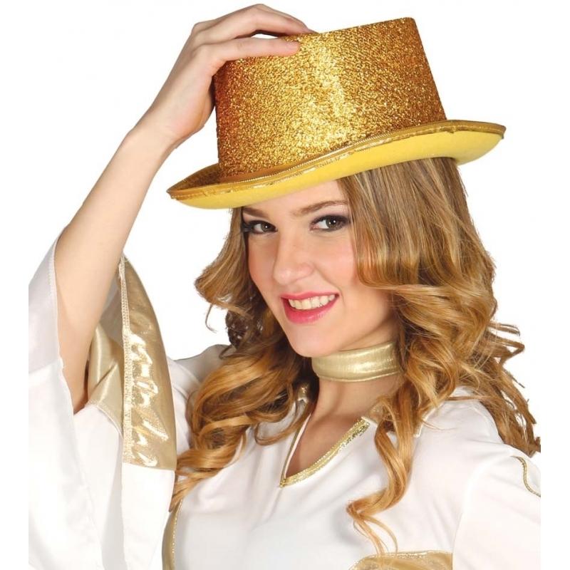 Glitter hoge hoed goud (bron: Funenfeestwinkel)