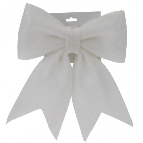 Glitter strikje wit 34 cm (bron: Funenfeestwinkel)