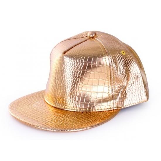 Gouden rapper cap krokodillenprint (bron: Funenfeestwinkel)