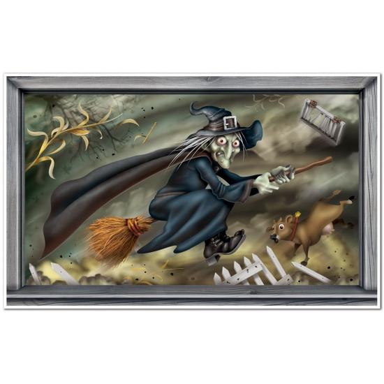 Halloween scenesetters vliegende heks (bron: Funenfeestwinkel)