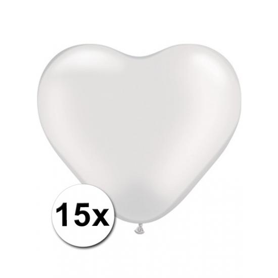 Hart ballonnen wit 15 stuks (bron: Funenfeestwinkel)