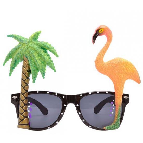 Hawaii thema bril met flamingo glazen (bron: Funenfeestwinkel)