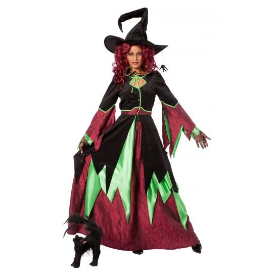 Heksen kostuums rood/groen dames (bron: Funenfeestwinkel)