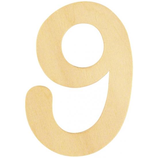 Houten cijfertje 9 (bron: Funenfeestwinkel)