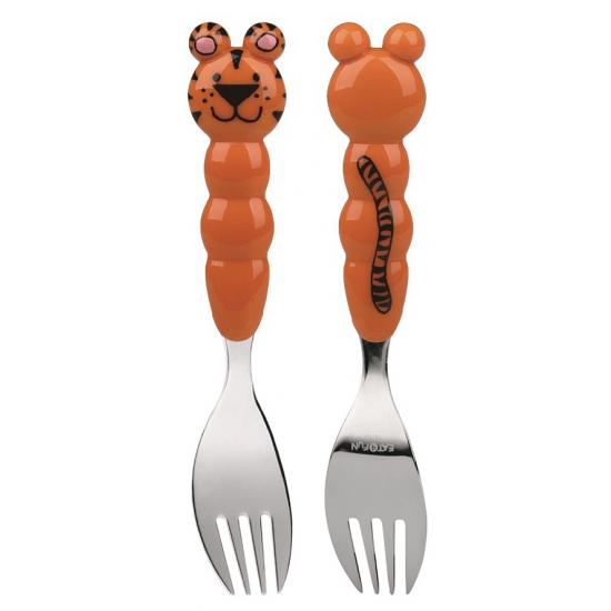 Kinder bestek vork tijger