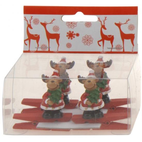 Knijper met rendier met kerstboom 4 stuks (bron: Funenfeestwinkel)