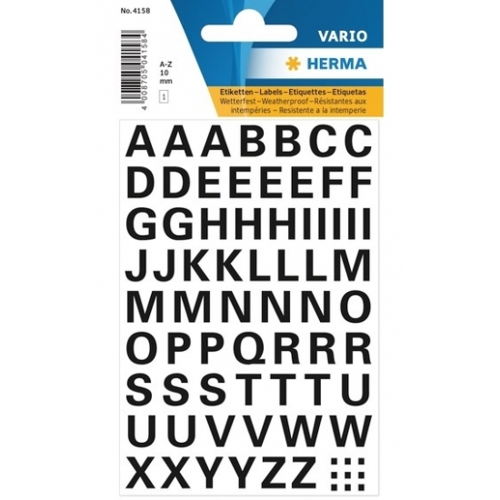 Letterstickers zwart 10mm 65x