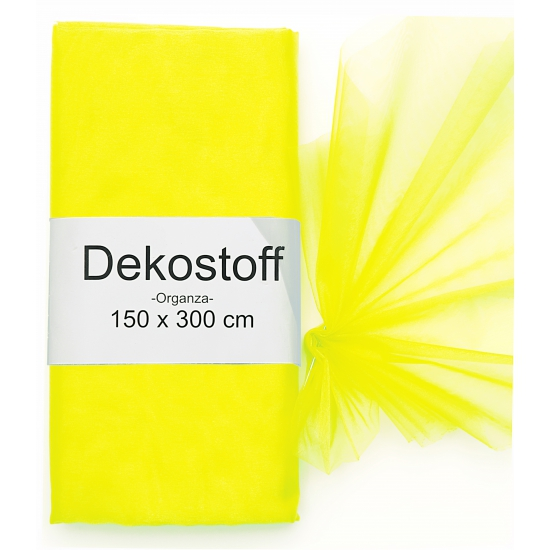 Neon gele organza stof op rol 150 x 300 cm (bron: Funenfeestwinkel)