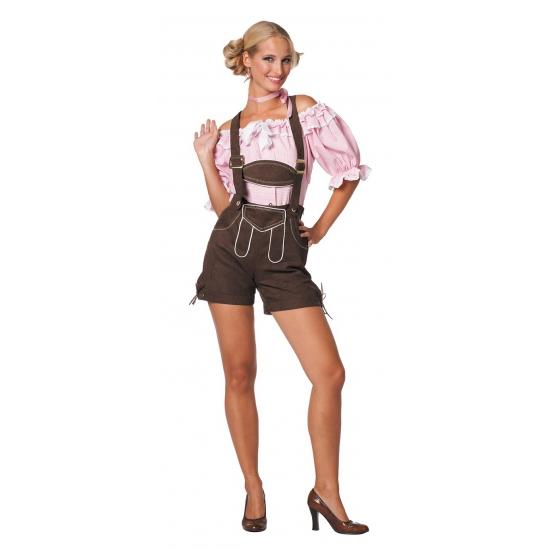 Oktoberfest donkerbruine lederhose voor dames (bron: Funenfeestwinkel)