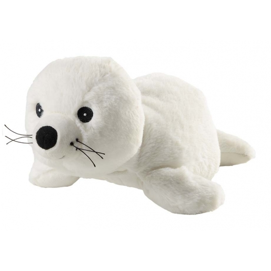 Opwarmbare knuffel zeehond wit