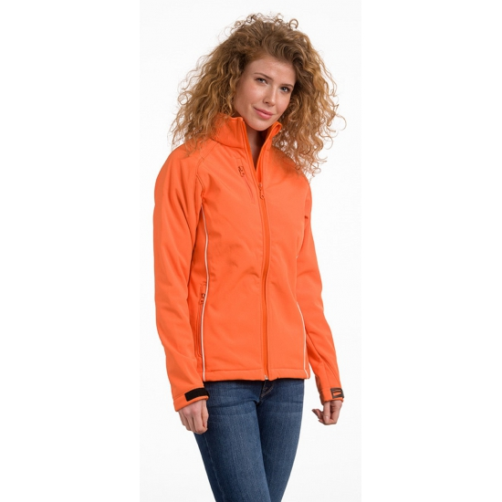Oranje polyester damesjas (bron: Funenfeestwinkel)