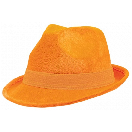 Oranje suede hoeden (bron: Funenfeestwinkel)