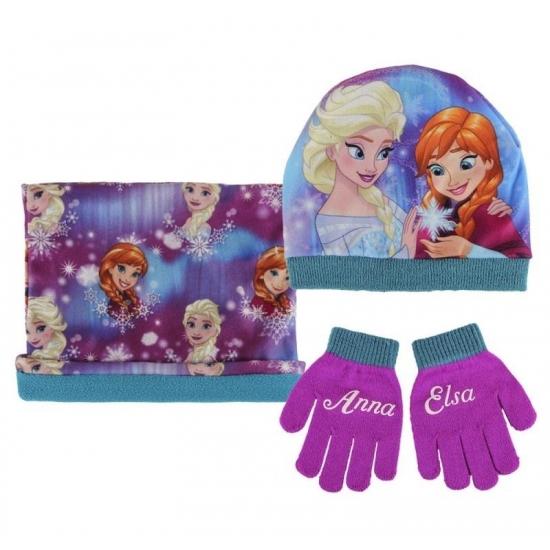 Paarse meisjes winter setje Frozen (bron: Funenfeestwinkel)