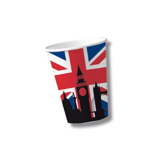 Papieren United Kingdom bekers 10 st (bron: Funenfeestwinkel)