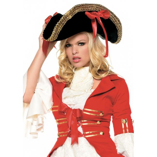 Piraat hoed zwart met strikken (bron: Funenfeestwinkel)