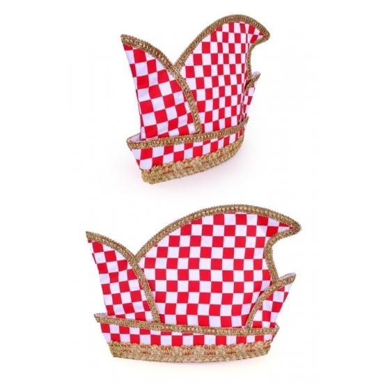 Prins Carnaval hoed rood/wit geblokt voor volwassenen