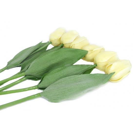 Realistische creme tulpen bos 48 cm (bron: Funenfeestwinkel)