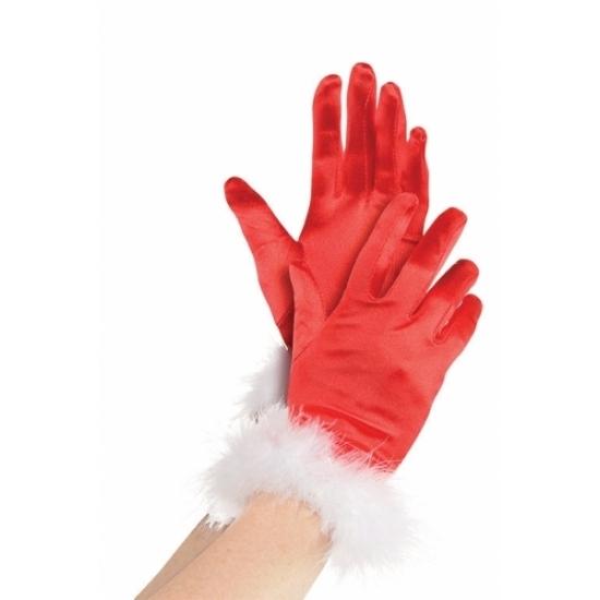 Rode kerst handschoenen voor vrouwen (bron: Funenfeestwinkel)