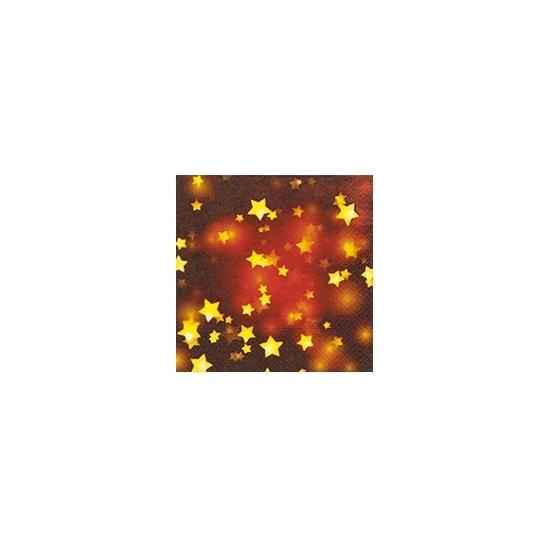 Rode kerst servetten met gouden sterren (bron: Funenfeestwinkel)