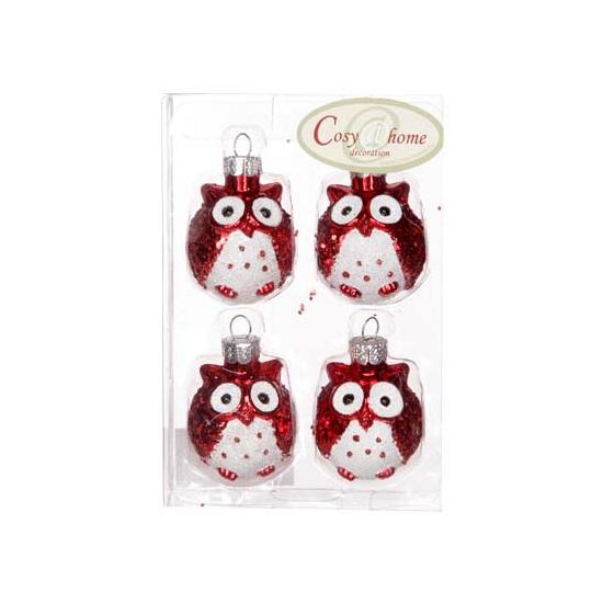 Rode uilen kerstballen 4 stuks (bron: Funenfeestwinkel)