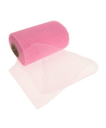 Roze gaas stof op rol (bron: Funenfeestwinkel)