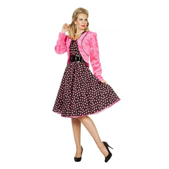 Roze nepbonten jasje voor dames (bron: Funenfeestwinkel)