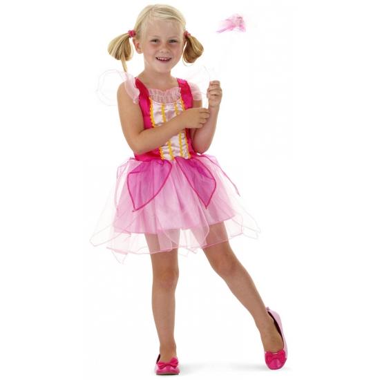 Roze prinsessen outfit met toverstaf (bron: Funenfeestwinkel)