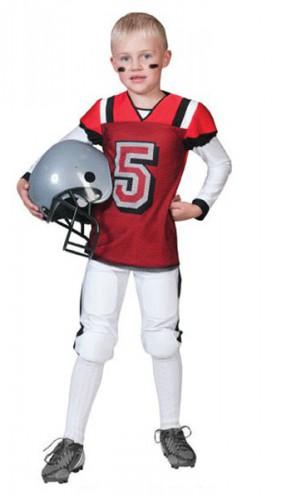Rugby kostuum rood met wit voor kids (bron: Funenfeestwinkel)