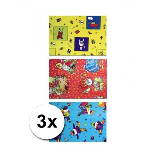 Sinterklaas folie inpakpapier 3 rollen thumbnail