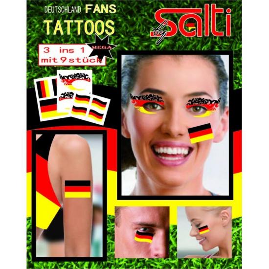 Tatoeages Duitsland 9 stuks (bron: Funenfeestwinkel)