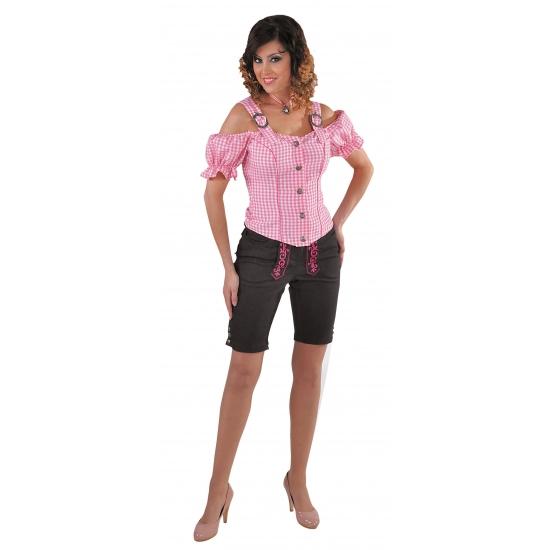 Tiroler geruite blouse off shoulders roze (bron: Funenfeestwinkel)