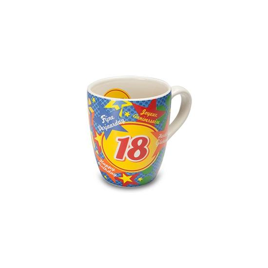 Verjaardags mok 18 jaar (bron: Funenfeestwinkel)