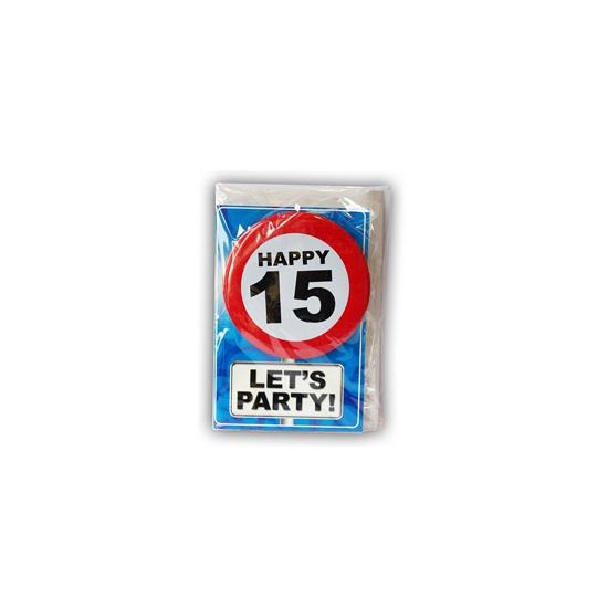 Verjaardagskaart 15 jaar (bron: Funenfeestwinkel)