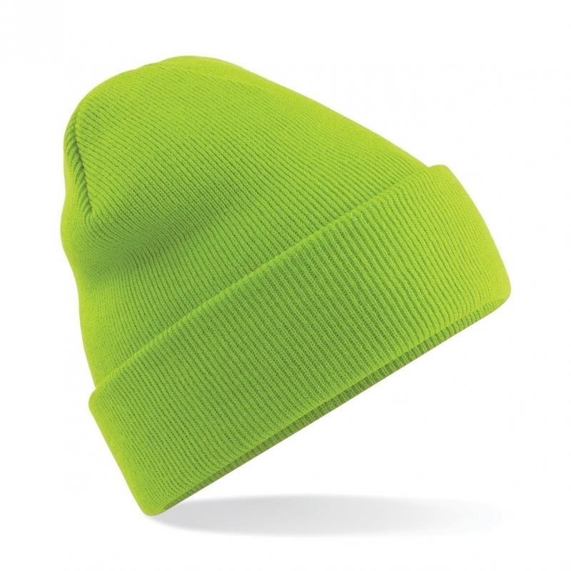 Warme gebreide muts in het Lime groen (bron: Funenfeestwinkel)
