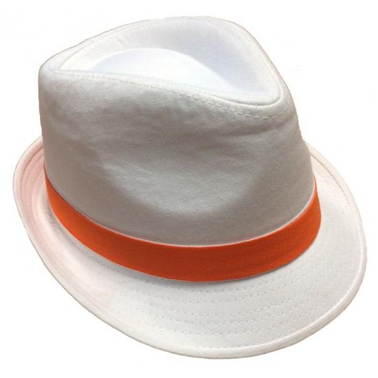 Witte hoeden met oranje bies (bron: Funenfeestwinkel)