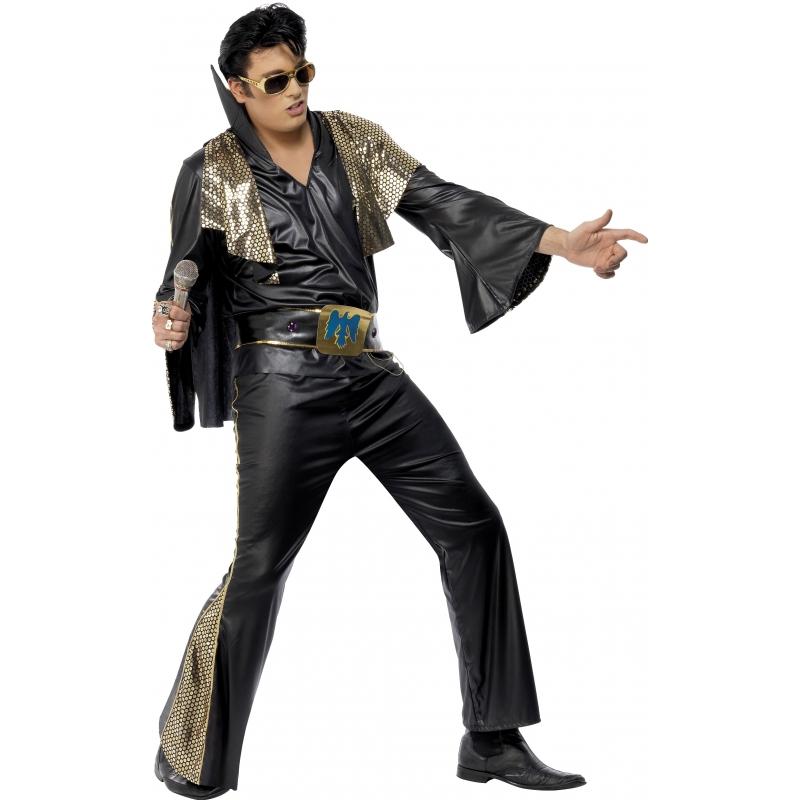 Zwart met goud Elvis Presley pak (bron: Funenfeestwinkel)