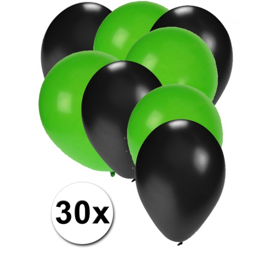 Zwarte en groene ballonnen 30 stuks